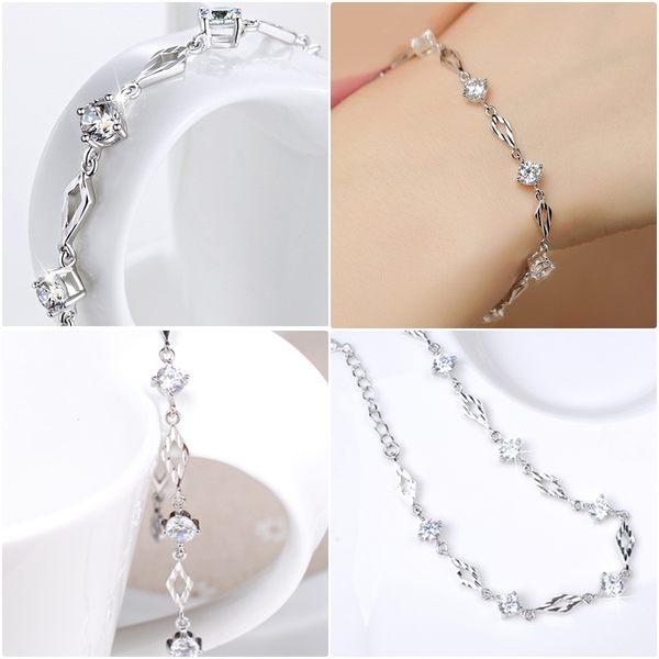 925純銀 八心八箭天然白水晶菱形壓紋手鍊-銀 防抗過敏