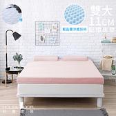 House Door 抗菌防螨11cm 藍晶靈涼感記憶床墊保潔組雙大甜美粉