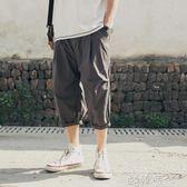 夏季日系男士七分褲子直筒寬鬆工裝褲短褲休閒褲馬褲中褲 ◣歐韓時代◥