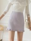窄裙 高腰設計感木耳邊雪紡短裙女夏防走光半身裙大碼胖mm顯瘦a字包裙 快速出貨