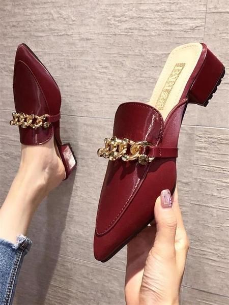 網紅包頭拖鞋女外穿春季新款尖頭穆勒鞋韓版鏈子水鉆半拖鞋子「時尚彩紅屋」