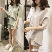 兩件套裝 時尚套裝女新款春夏季洋氣質闊腿短褲小個子顯高赫本風兩件套 618購物節