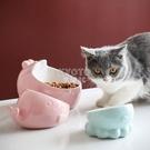 快速出貨貓碗狗碗陶瓷保護頸椎高腳斜口碗泰迪加菲貓食盆貓咪用品