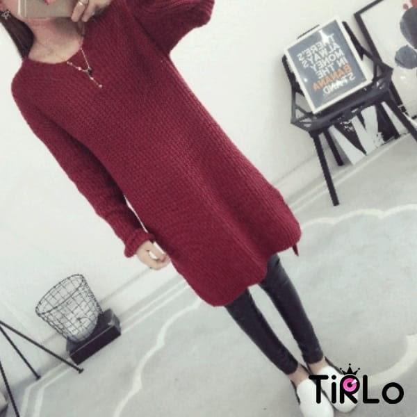 針織衫 -Tirlo-下擺開衩圓領長版針織衫-五色(現+追加預計5-7工作天出貨)