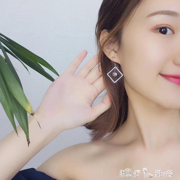 耳環 ulzzang耳環女氣質韓國個性潮人簡約幾何彩水晶吊墜純銀耳飾耳墜 「潔思米」