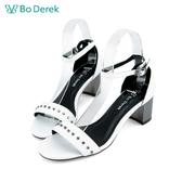 Bo Derek 一字鉚釘繫踝粗跟涼鞋-白色