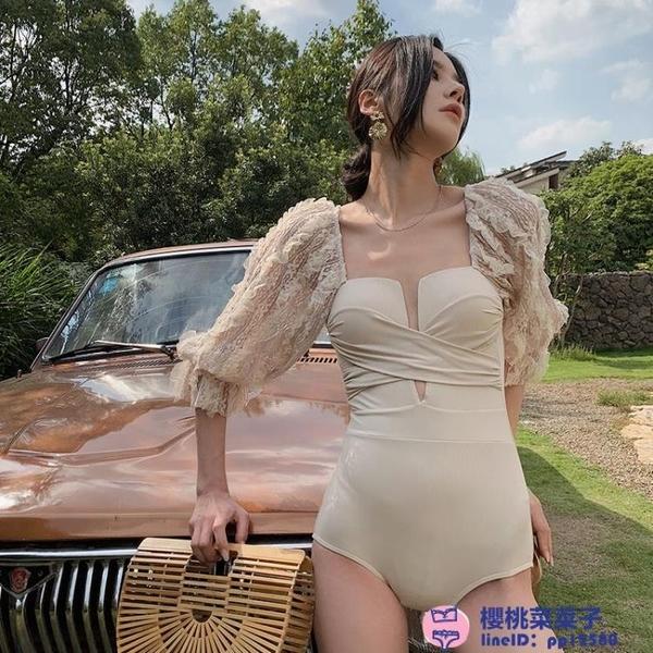 泰國復古連體泳衣女性感氣質女神蕾絲中袖遮肚顯瘦溫泉度假游泳衣大碼泳裝品牌【櫻桃】