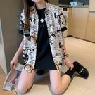 長袖襯衫 上衣夏季2020新款短袖個性印花卡通寬松半袖襯衫薄款上衣 7117 N502 1號公館