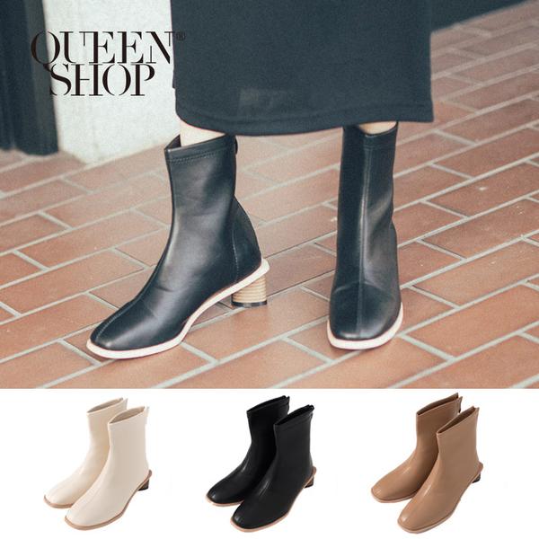 Queen Shop【05060121】基本百搭車線厚根造型短靴 三色售 36-39*現+預*