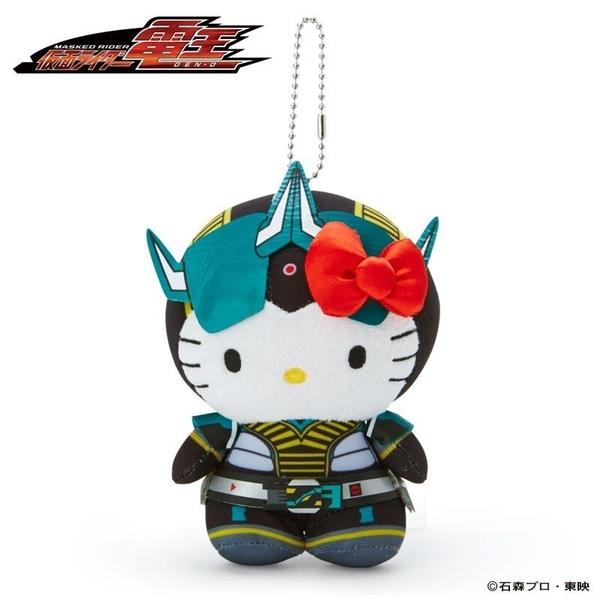 〔小禮堂〕Hello Kitty x 假面騎士555  絨毛玩偶娃娃吊飾《黑綠》掛飾.鑰匙圈 4901610-69689
