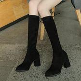 中筒靴女 新款靴子女顯瘦粗跟彈力中筒靴女高跟高筒長靴長筒瘦瘦靴  莎瓦迪卡