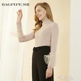 BAGPIPE/風笛新款冬季女士修身彈力雪紡衫高領長袖上衣74228 交換禮物