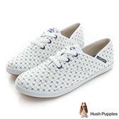 Hush Puppies 十字繡咖啡紗帆布鞋-白色