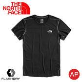 【The North Face 男 吸濕排汗短袖T恤《黑》】3VAH/FlashDry/排汗快乾/運動衣/圓領衣/休閒衣