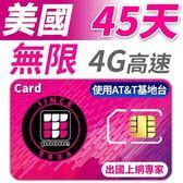 【TPHONE上網專家】美國 45天無限高速上網卡 包含境內無限通話和無限簡訊 使用AT&T電信基地台