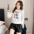 長袖衛衣 上衣 韓版新款薄款上衣大碼女裝時尚氣質印花小衛衣外穿T614 胖妹大碼女裝