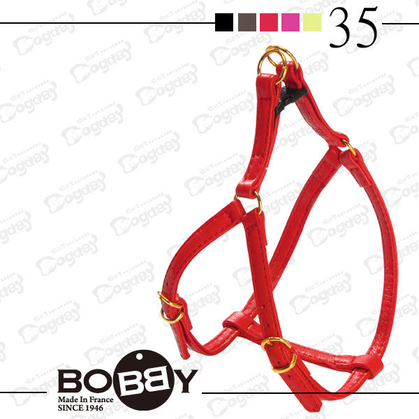 狗日子《Bobby》金環 超質感 小羊皮 胸背帶 35公分 黑 桃 紅 綠 咖啡