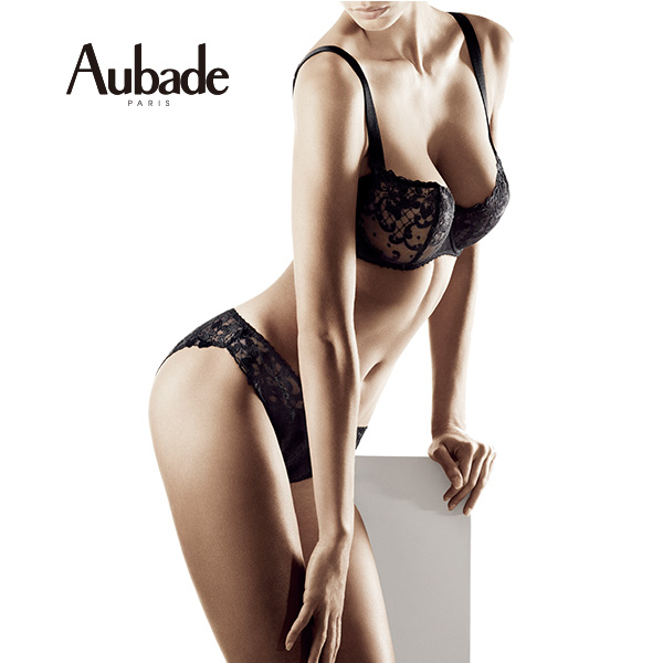 Aubade-愛的漫步M-XL鑲綴蕾絲三角褲(黑底白花)EF