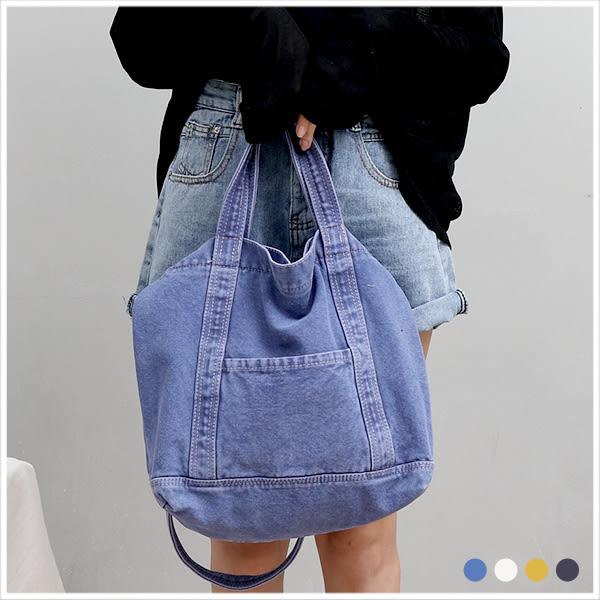 斜背包-率性休閒感手提/斜背帆布袋-共4色-A17172955-天藍小舖