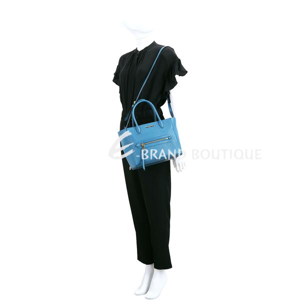 miu miu Madras 附雙背帶山羊皮兩用托特包(孔雀藍) 1840604-16