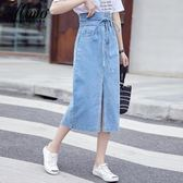 牛仔裙 2019流行夏天裙子仙女超仙森系牛仔裙適合胯大腿粗的半身裙中長款 快速出貨