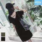 【V2819】shiny藍格子-簡約自在.V領後交叉短袖連身裙
