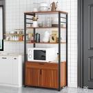 微波爐廚房置物架落地多層廚房用品烤箱置物...