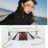 眼鏡復古大圓金屬珍珠掛鍊平光鏡女潮【中元節鉅惠】