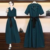 墨綠色法式復古桔梗連身裙女夏2020新款長款氣質顯瘦高腰雪紡長裙 貝芙莉