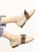 平底單鞋女淺口韓版方頭復古奶奶鞋秋季豆豆鞋