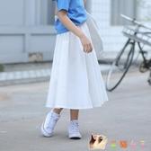 女童半身裙中長款洋氣女孩白色下半身過膝長裙女大童公主裙子夏裝 KP1522【花貓女王】