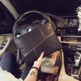 新款復古韓版男女士手拿包商務休閒潮流手抓包信封包文件包潮包『艾麗花園』