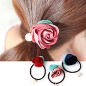 韓版 浪漫玫瑰花朵綠葉珍珠髮束 髮飾 髮圈 髮繩 橡皮筋