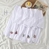短袖T恤 白色短袖T恤女2020年夏季網紅韓版寬鬆洋氣刺繡百搭上衣打底衫ins 歐歐