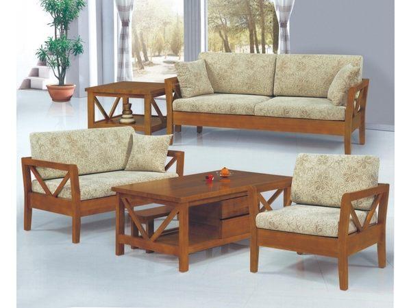 沙發組 FB-185-1 樟木色實木板椅組  (含大小茶几) (可拆賣)【大眾家居舘】