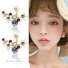 925純銀針  韓國優雅氣質 絢麗彩鑽花...