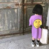 女童T恤 韓國童裝女童長款T恤 夏季新品歐美風笑臉寬鬆短袖衛衣裙潮款  中秋節下殺