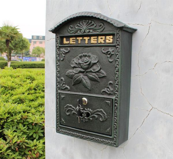 歐式鑄鐵工藝品壁掛式花開富貴信報箱郵箱墨綠色鐵藝信箱