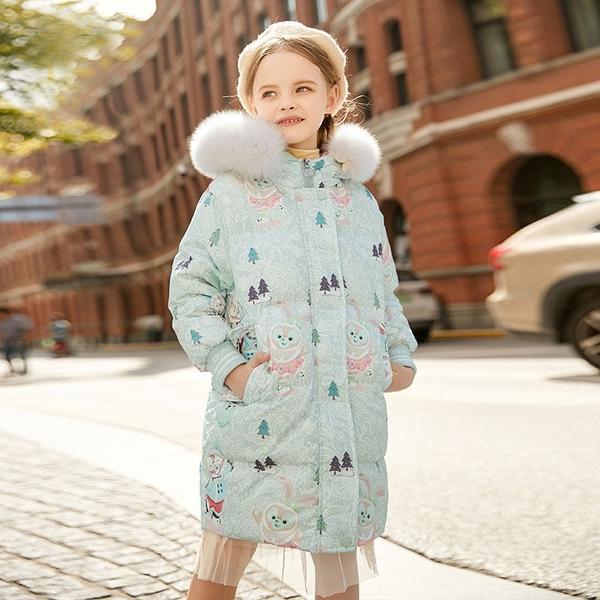 女孩時髦中長夾棉女童外套羽絨服 女兒童裝中大女童潮流棉服外套 韓加厚保暖秋冬洋氣加絨夾克