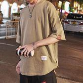 短袖t恤男日系復古青年純色半截袖潮牌圓領T恤衫 優樂居