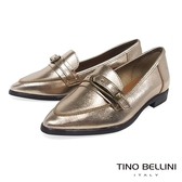 Tino Bellini 義大利進口皮帶飾釦尖楦微跟樂福鞋 _ 香檳金 VI8501 歐洲進口款