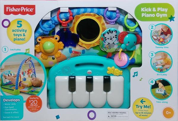 美國 Fisher-Price 三合一遊戲墊 踢踢腳鋼琴 遊戲墊 彌月禮 健立架(藍大象)-超級BABY