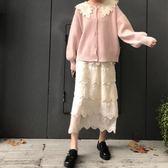 半身裙 kumayes  韓版秋冬新款2019女裝松緊腰純色仙女蕾絲蛋糕裙半身裙 曼慕衣櫃
