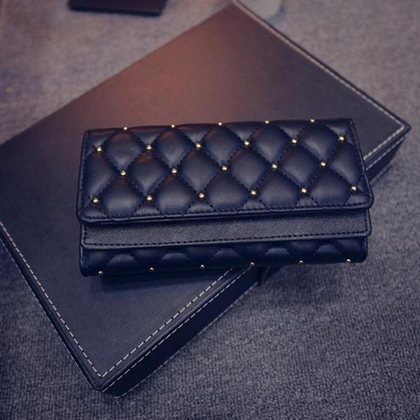 新款韓版時尚鉚釘菱女士手包錢包長款三折皮夾零錢夾女式卡包 至簡元素