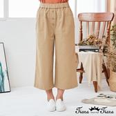 【Tiara Tiara】百貨同步新品ss 鬆緊腰鈕釦造型七分褲(藍/卡其)