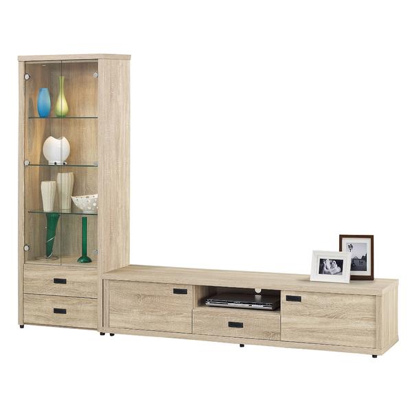 【采桔家居】達比修 時尚8尺木紋L型電視櫃/展示櫃組合