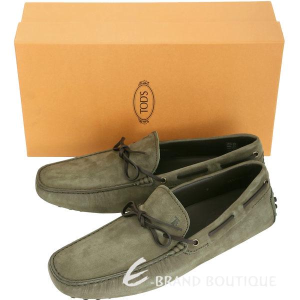 TOD'S Gommino Driving 綁帶拼接麂皮豆豆休閒鞋(墨綠/男鞋) 1620901-C8