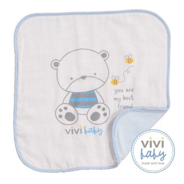 ViVibaby 托比熊雙面手帕(藍)