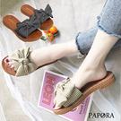 PAPORA日系典雅平底涼鞋拖鞋KB322黑/米(偏小)