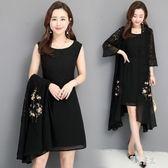 2019夏裝新品蕾絲兩件式洋裝裙刺繡披風外套 背心連身裙 mj13960『東京潮流』